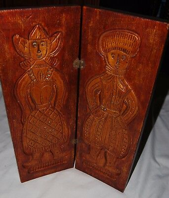 Vintage Nettle Creek Wood Carving Art Wall Hanging Fold Out Medieval Woman Man