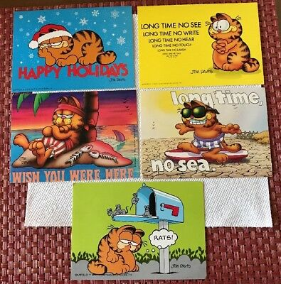 Garfield The Cat Cartoon Postcards (5)  Jim Davis 1978