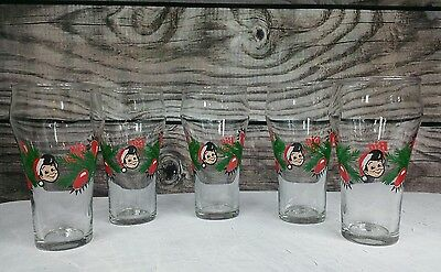 Vintage BIG BOY CHRISTMAS Holiday Glasses Glass Lot Of 5