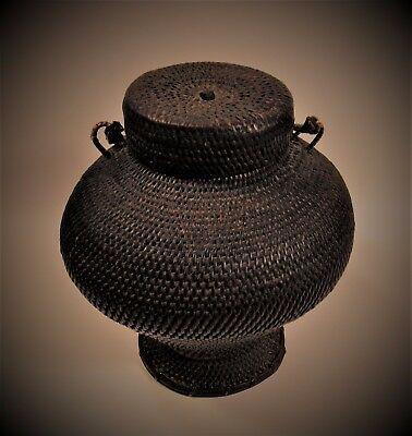 Antique Primitive Hand Woven Basket w Lid & Handle