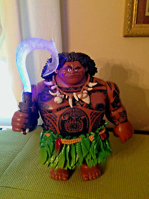"Disney Store Deluxe Moana Movie Talking Maui Toy Doll Figure 12"" Light Up Hook"