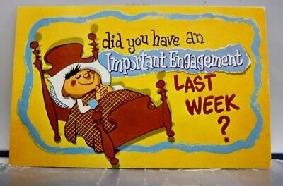 Comic Cartoon Important Engagement Postcard Old Vintage Card View Standard Post