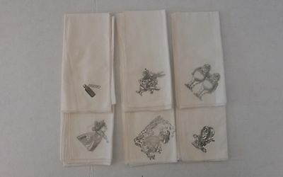 Alice And Wonderland Stamped Napkins Ivory With Black Print Set Of 6