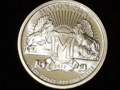 1 Oz Mason Mint Heritage Proof-Like Silver Round (.999 Pure)- NEW-In Stock