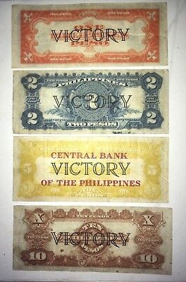 US / Philippines 1, 2, 5, 10 Pesos Set lot Victory Series 66 Great Colors