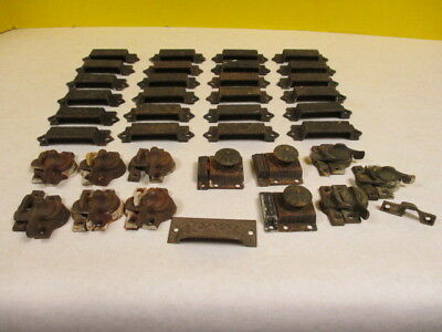 Lot Of East Lake Cast Iron Draw Pulls, Window Sash Locks & Cabinet Locks