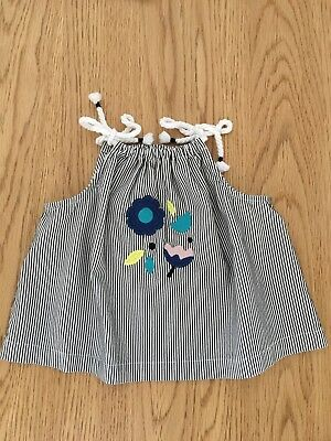 Country Road Baby Girl Summer Navy Stripe Rope Halter Top Size 0 (6-12 Months)