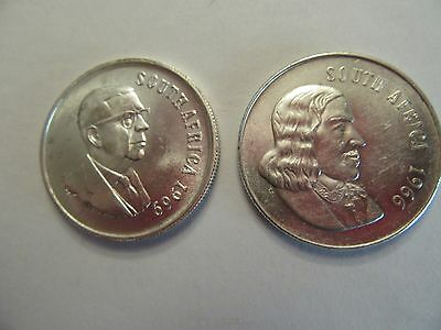 Lot of 2 South Africa Silver 1 Rand, 1 ea 1966, 1969, nice details