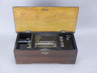 Antique 19c Victorian French Music Cylinder Roll Music Box Crank 6 Airs Working