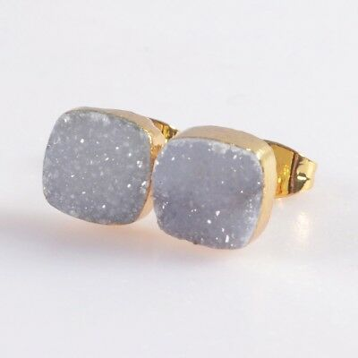 8mm Square Natural Agate Druzy Geode Stud Earrings Gold Plated B049409