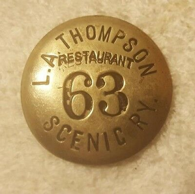 L a Thompson Scenic Railway restaurant 1904 employee badge Roller Coaster