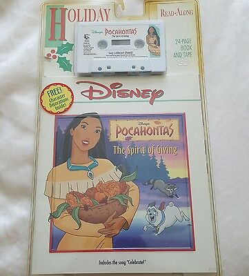 Disney Pocahontas Holiday Read Along Cassette Tape Book The Spirit Of Giving 90s
