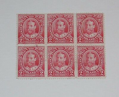 Stamp Pickers Newfoundland 1911 KGV Royal 2c Blocks Scott #105 x 6 MNH MH $30+