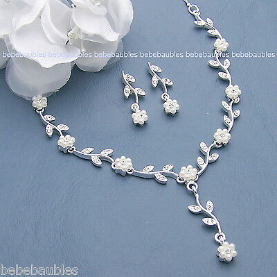 Pearl Crystal Necklace Set Wedding Bridesmaid Gift Bridal Jewelry SILVER SP Prom