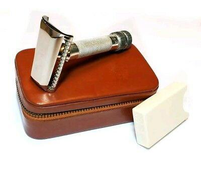 Vintage Hoffritz Leather Case Slant Safety Razor DE