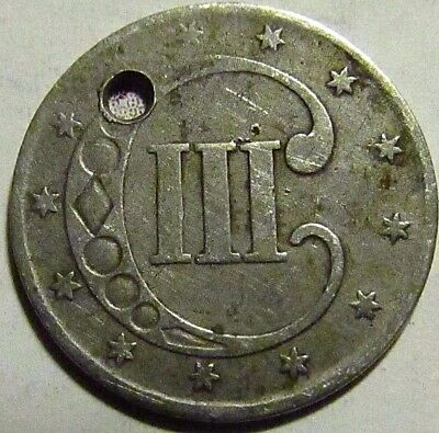 1851 US 3C Silver Trime ~ Rare, Unusual Coin ~ Great Shape, See Pics!