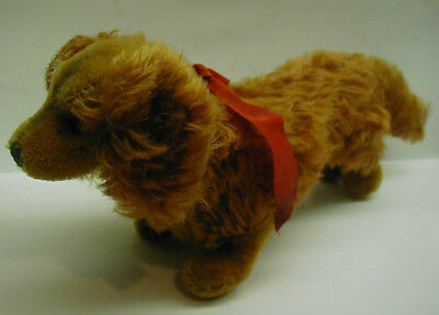 """RARE 13"""" Vintage Long Red Haired Steiff Waldi Dachshund dog, No Reserve"""