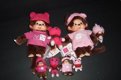 """7.5"""" Collectible Monchhichi x Post Pet Set with matching Key-chains *4 pieces"""