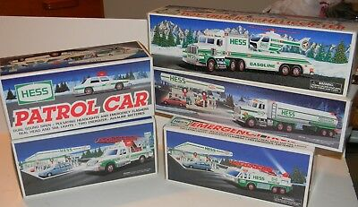 Vtg 1990'S HESS SERVICE STATION TOY TRUCK LOT OF 5 NEW IN BOX 90 93 94 95 96
