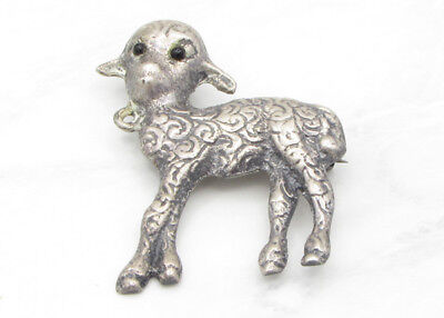 925 Sterling Silver - Vintage Antique Finish Carved Lamb Brooch Pin 11g