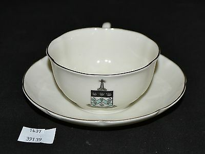 ThriftCHI ~ Ceramic Cup & Saucer - W.H. Goss Respice Aspice Prospice Shield