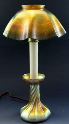 LC Tiffany Favrile Glass Candle Lamp Electrified Gold Iridescent Glass C1900 NR