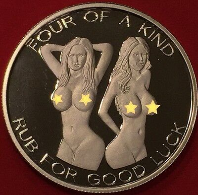 1 Troy Oz .999 Silver Four Of A Kind Hot Nude Girl Poker Coin - Only 1 On Ebay!