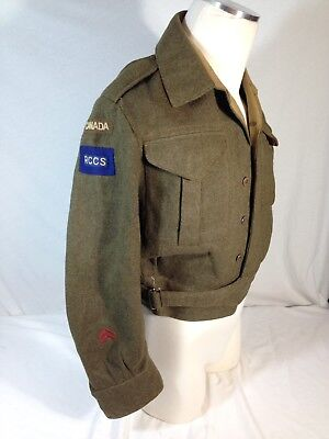 WWII  original Royal Canadian Corps Of Signal battle dress jacket W RCCS Patches