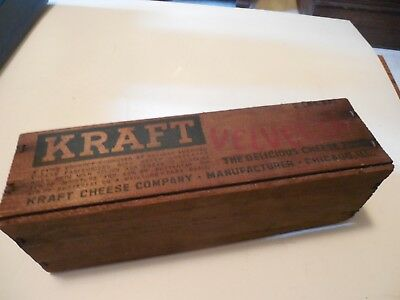 Vintage Kraft Velveeta Cheese 2 Lb. Wooden Box  Chicago  ILL