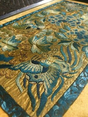 ANTIQUE CHINESE EMBROIDERED SILK Butterfly Flower Panel EXCELLENT NO RESERVE