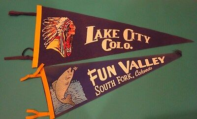 Vintage Felt Pennants Lot Fun Valley South Fork Lake City Colorado