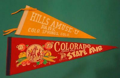 Vintage Felt Pennants Lot Hills Amuse U Park Colorado State Fair