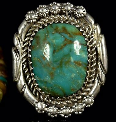 Gorgeous Stone HOSKIE YAZZIE Navajo Green TURQUOISE Sterling Ring Sz 6.5