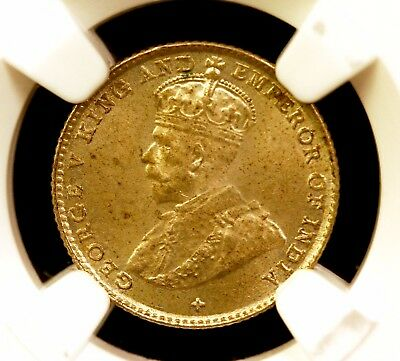 1919 Straits Settlements 5 Cent, RARE NGC MS-63 grade, Malaysia/George V GENUINE