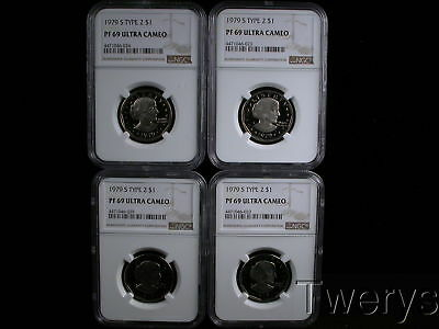 Lot Of 4 Pieces 1979-S Susan B Anthony $1 Type 2 Ngc Pf 69 Ultra Cameo