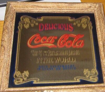 vtg Sign Mirror Delicious Coca Cola The Most Refreshing Drink in the World