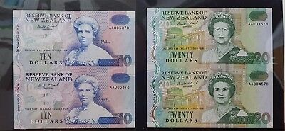 SET of NEW ZEALAND UNCUT PAIR OF $10 & $20 NOTES FIRST PREFIX AA00 (1992)