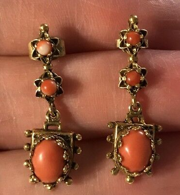Vintage Victorian Style 14k Gold & Coral Earrings