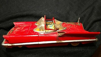 Red Lincoln Futura Tin Friction Car Alps? 1955 As Is For Parts