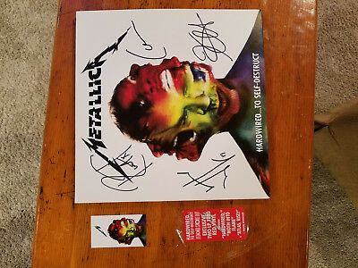 METALLICA Hardwired to Self Destruct VINYL LP SCARE Red SIGNED AUTOGRAPH By ALL