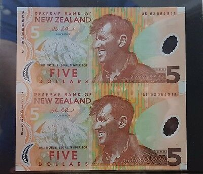 New Zealand Uncut Pair Of $5 Notes First Polymer