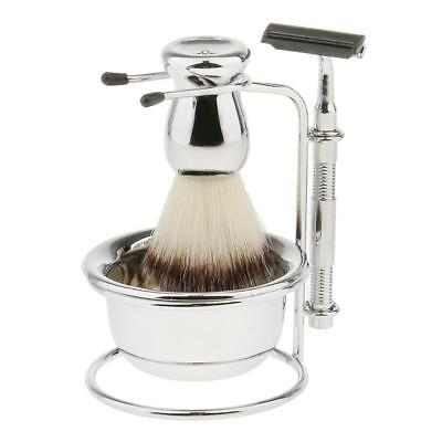 Mens Beard Shaving Grooming Kit with Brush Straight Razor Bowl Safety Stand