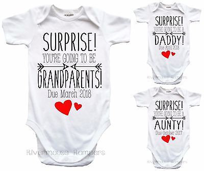 SURPRISE Baby Romper PREGNANCY Announcement Personalised Reveal Newborn Onepiece