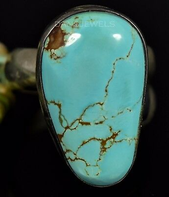 BIG Vintage Navajo Old Pawn Bright Blue TURQUOISE Sterling Ring SZ 9.5