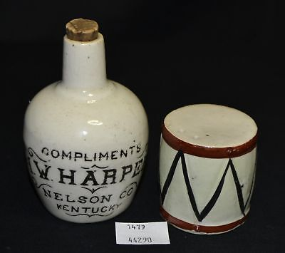 ThriftCHI ~ Compliments I.W. Harper Nelson Co Kentucky Pottery Jug & Drum Shaker