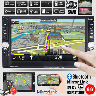"6.6"" Double 2DIN Bluetooth Touch Screen Car Radio Stereo MP5 MP3 Player HD + Cam"