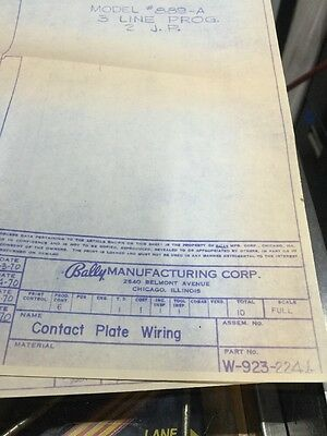 Bally Manufacturing  #889-A Line Step-up Contact Plate Wiring Schematic