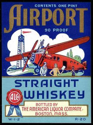 Whiskey Label - Airport Brand with Plane - Amer. Liquor Co., Boston - One Pint