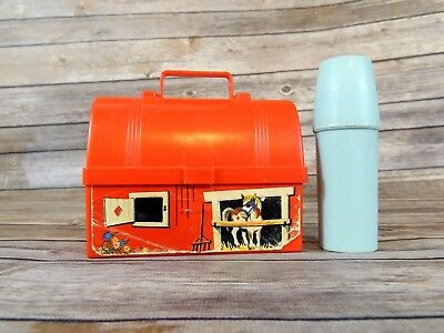 Vintage Fisher Price Toys plastic Red Barn Toy Lunch Box Pail 1962 Silo thermos