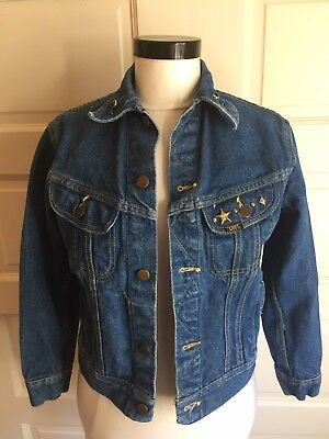 Vintage Lee Rider PATD-153438 Jean Jacket Size 34 Union Made In USA Black Label